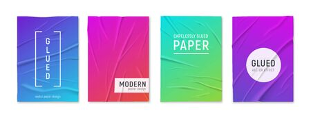 Badly glued wrinkled crumpled 4 bright colorful paper sheets textured posters set white background realistic vector illustration
