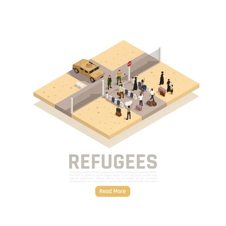 Refugees asylum seekers migrants border crossing between conflict war zone and safe area isometric composition vector illustration
