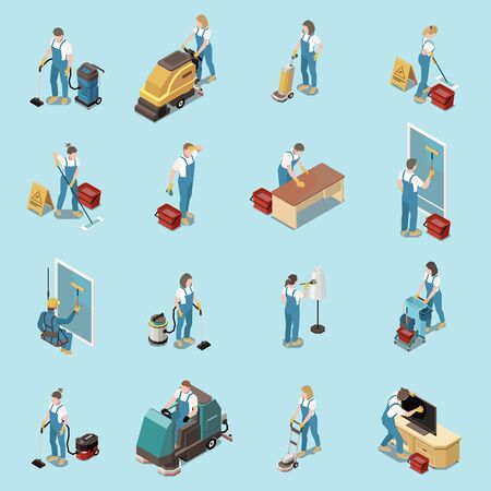 Professional office cleaning housekeeping services people equipment isometric icons set with vacuuming sweeping mopping floors vector illustration