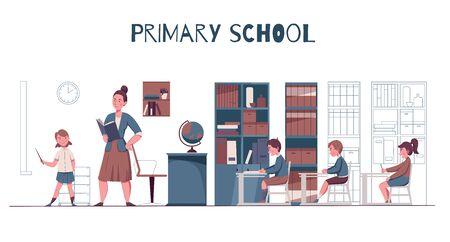 Primary junior school lesson classroom interior teacher with textbook pupils at desks flat horizontal composition vector illustration