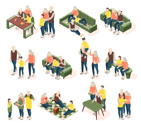 Grandparents with children isometric icons with elderly and young people communicated well with each other isolated vector illustration