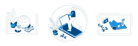 Home sport concept 3 isometric compositions with fitness ball mat barbells water bottle treadmill sneakers vector illustration  Illustration