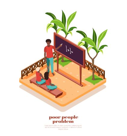 Poor african people studying at small class outdoors isometric composition 3d vector illustration