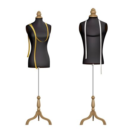 Set of two isolated mannequins realistic images with female body forms dress stands with measuring tapes vector illustration
