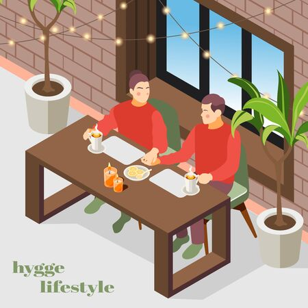 Hygge lifestyle isometric composition with danish cozy apartment interior lights plants enjoying coffee couple background vector illustration  Vettoriali