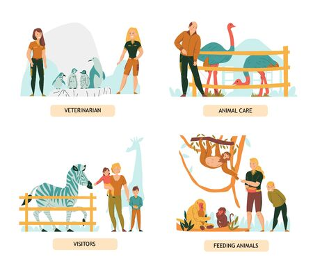Set of 2x2 flat compositions with zoo visitors and people looking after animals isolated vector illustration