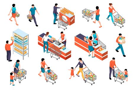 Isometric supermarket color set with human characters of market visitors collecting goods with baskets and cashiers vector illustration