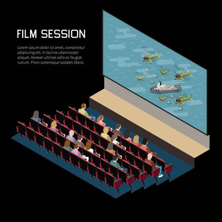 Cinema isometric composition with indoor view of auditorium watching movie with seats screen and editable text vector illustration Vettoriali