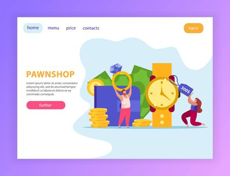 Pawnshop flat composition with web site page design clickable buttons links editable text and pawn images vector illustration