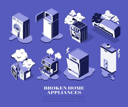 Broken home appliances isometric set with washing machine fridge microwave over conditioner boiler isolated on blue background 3d vector illustration