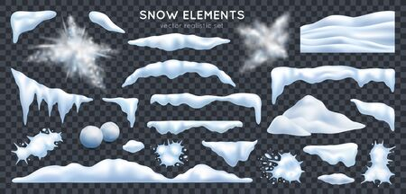 Snow capes piles icicles snowdrift mound bursting exploding snowballs splats realistic set dark transparent background vector illustration