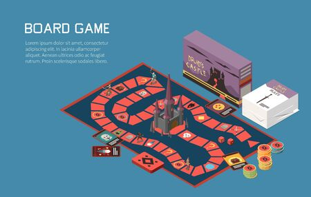 People playing board games isometric background with text and desktop game with cards and colourful chips vector illustration