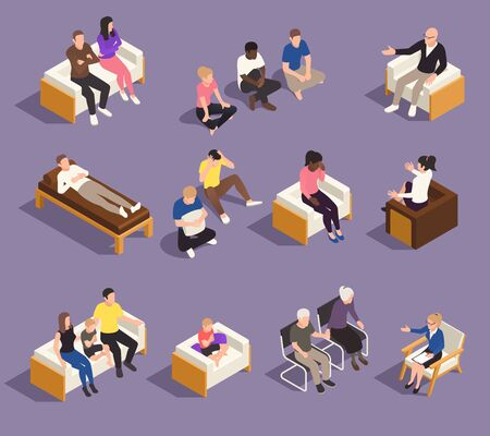 Psychology psychotherapy individual marriage and family therapy sessions isometric set with counselors helping clients vector illustration