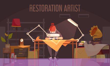 Artist restorer colored flat banner with restoration artist works on restoring things vector illustration Vecteurs