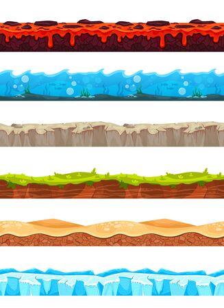Set of seamless isolated landscape images with patterns of ice magma stones land relief for game user interface cartoon vector illustration Ilustração