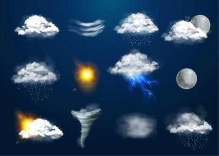 Weather set with natural phenomena symbols realistic isolated vector illustration
