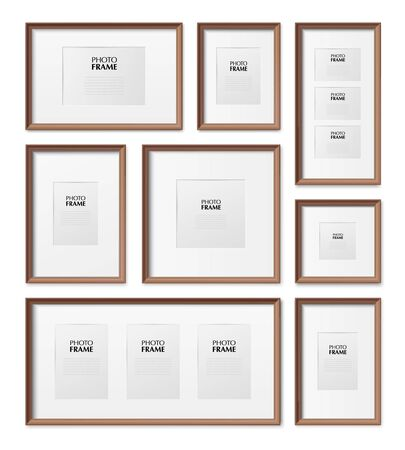 Thin wooden rectangular and square picture frames different sizes dimensions realistic mockup set isolated vector illustration Vektoros illusztráció