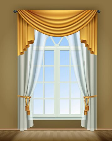 Window curtains realistic composition with indoor view of room window and luxury golden curtains with lace vector illustration Illustration