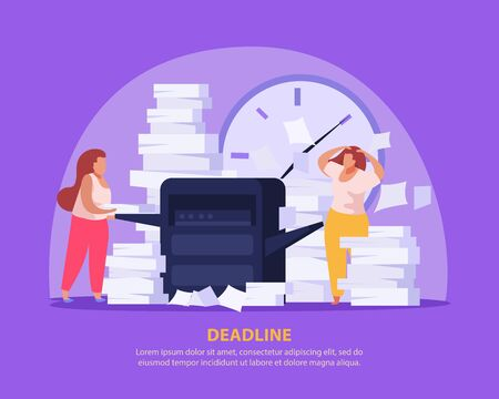Two tired women working with papers before dead line flat background vector illustration