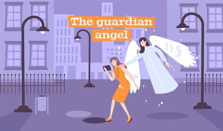 Young lady walking deserted street gets message guardian angel sending her through touch flat composition vector illustration