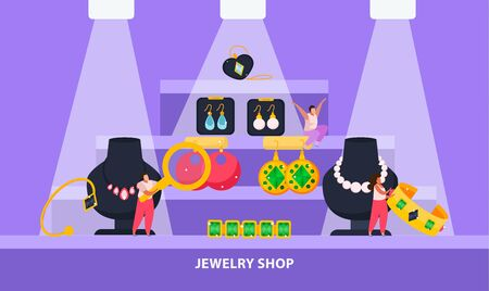 Jewelry flat composition with view of shop display with valuable goods for sale and editable text vector illustration