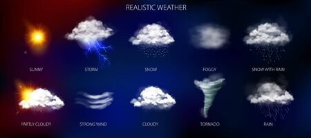 Weather phenomena set with tornado snow and storm symbols realistic isolated vector illustration