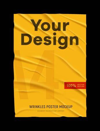 Affiche de papier jaune froissé froissé mal collé texture maquette fond noir votre conception illustration vectorielle réaliste Vecteurs