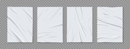 Badly glued wrinkled crumpled 4 white foil paper sheets posters set gray transparent background realistic vector illustration