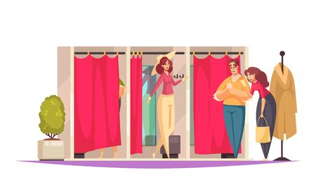 Flat shopping composition with fitting room in the store and people there vector illustration
