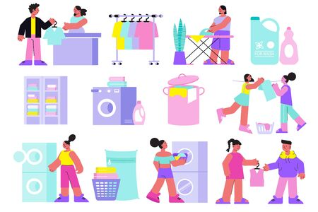 Laundry icons set with clean clothes symbols flat isolated vector illustration