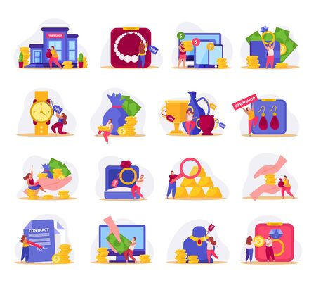 Pawnshop flat icons collection with isolated compositions of doodle people and valuable items with money coins vector illustration Vecteurs