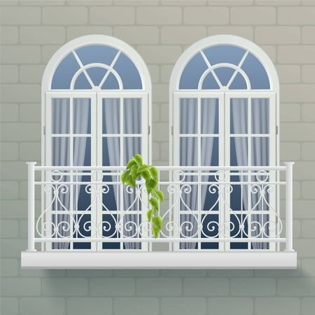 Fragment of house wall with two windows united by shared balcony with forged ornamental fence realistic vector illustration