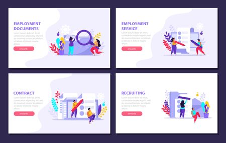 Employment service and employment documents flat 4x1 set of horizontal banners with editable text and button vector illustration