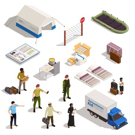 Refugees isometric icons set Immigrant and policeman characters refugee camp truck with humanitarian add isolated vector illustration