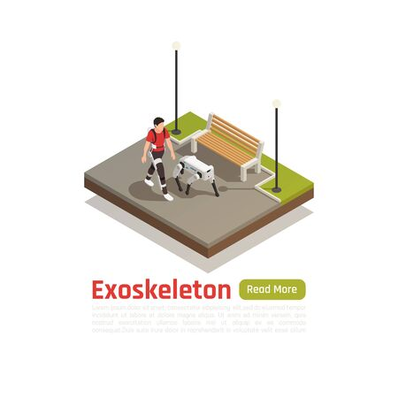 Bionics technologies isometric background with man in exoskeleton suit and robotic dog walking in city park vector illustration
