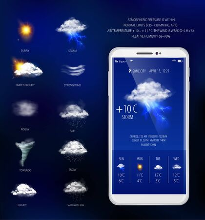 Weather forecast mobile application with temperature humidity and visibility realistic vector illustration