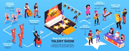 Signing for talent show isometric infographic chart with participants singing dancing acting playing instruments before judges vector illustration
