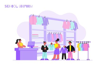 Boys with their mum trying on jackets and trousers at school uniform shop flat vector illustration