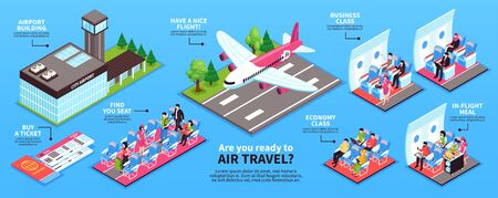 Airplane horizontal infographic banner with airport facilities tickets taking off plane aircraft interior crew passengers vector illustration Ilustración de vector