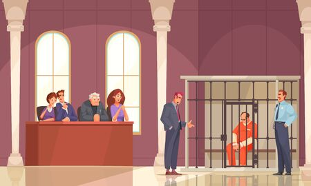 Law justice composition with indoor court scenery and prisoner in cage with trial jury human characters vector illustration