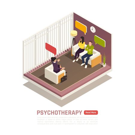 Psychotherapy session isometric composition with licensed marriage and family therapist helps young couple improve relationship vector illustration