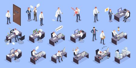 Problem situations at work isometric icon set with different type of stress conflicts problems at work vector illustration Ilustración de vector