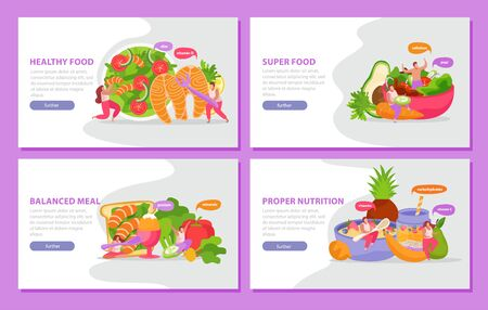 Healthy and super food flat 4x1 set of horizontal banners with images of well balanced meal vector illustration