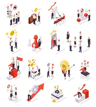 Soft skills concept isometric icons set with teamwork communication skills work under pressure creativity leadership vector illustration