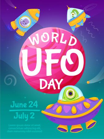World UFO day cartoon poster with earth planet and unidentified flying objects vector illustration