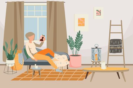 Hygge lifestyle flat background with relaxing woman and stylish interior of living room with decor furniture vector illustration 일러스트