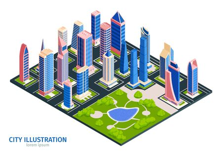 Isometric city composition with text and square urban block with park surrounded by tall buildings skyscrapers vector illustration