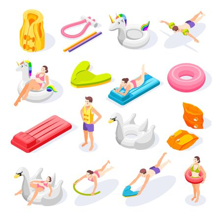 Isometric icons set with swimming aids and people using various colorful equipment 3d isolated vector illustration Stock Illustratie