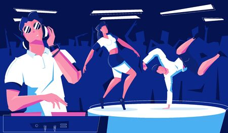 Night club dancing flat composition with indoor view of dancefloor with dancers and dj playing music vector illustration
