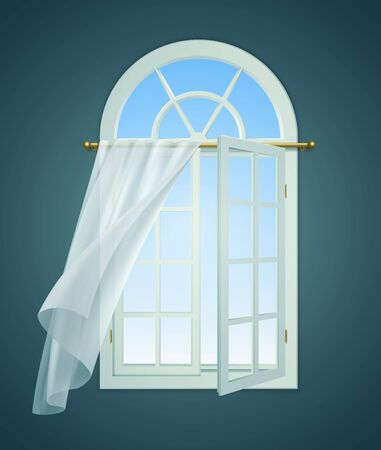 Open window billowing curtains composition with indoor view of window with opened leaf and curtain lace vector illustration